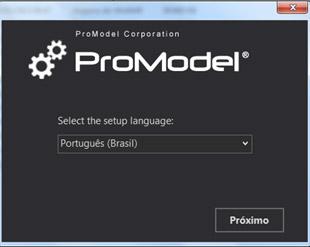ProModel - Inicío da Instalação. Escolha Português.